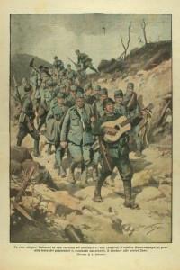 Prigionieri austriaci della I Guerra Mondiale condotti da un cantastorie della nuova Italia  La Domenica del Corriere  Illustrazione di Achille Beltra