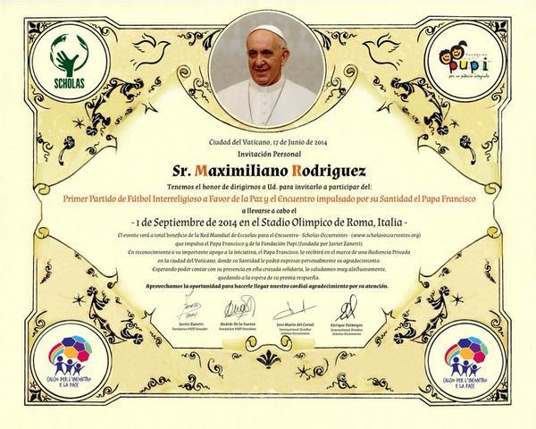 Partita interreligiosa per la pace voluta da Bergoglio (1 settembre 2014) 1