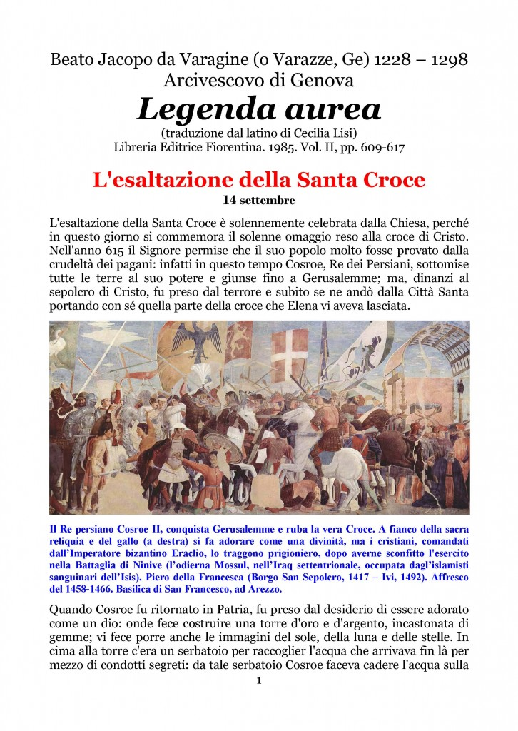 Esaltazione della Santa Croce  Legenda Aurea del Beato Jacopo da Varagine_Pagina_01