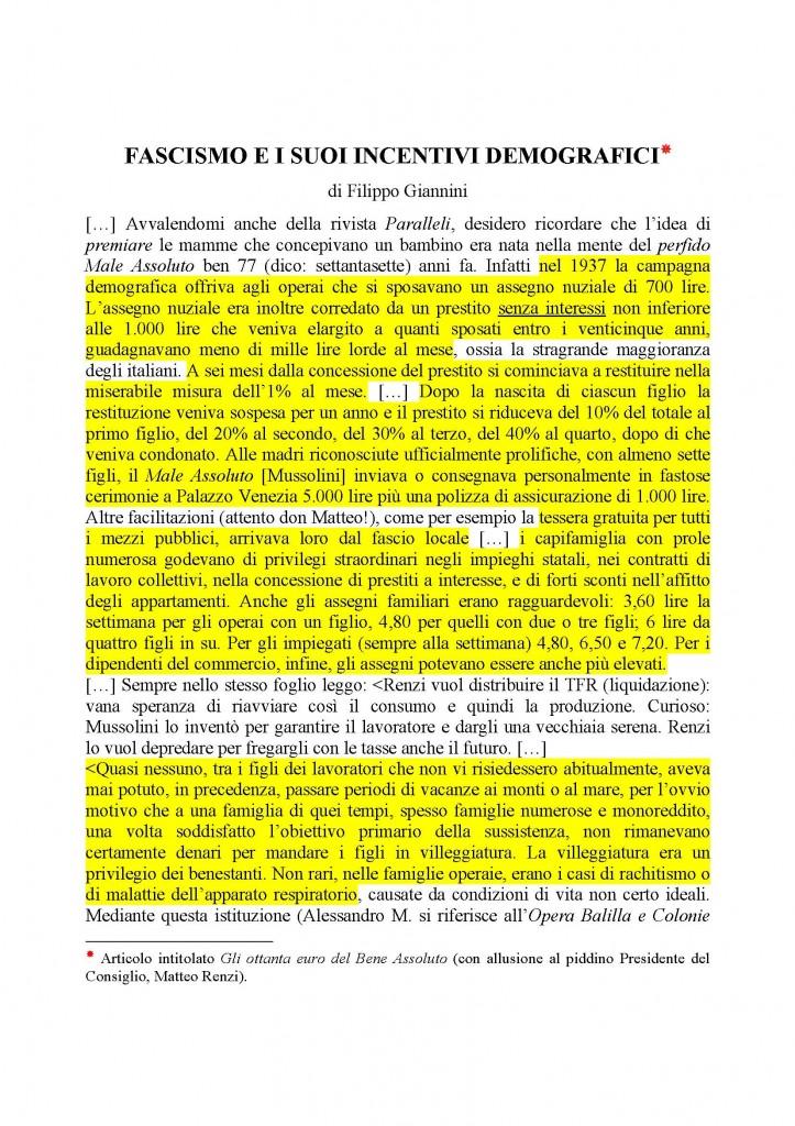 Fascismo e i suoi incentivi demografici  Articolo di Filippo GIannini_Pagina_1