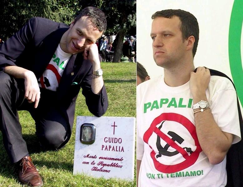 Tosi giovane e di destra indossa una maglietta contro Papalia e si fa fotografare a fianco della lapide mortuaria in onore del questurino-magistrato
