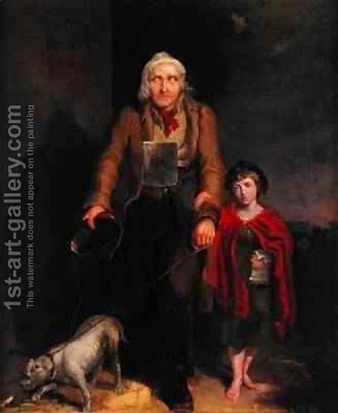 Mendicante cieca, olio su tela di James Flewitt Mullock (secolo XIX)