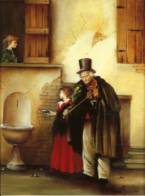 Mendicante. Dipinto di Rosa Gozzini (anno 2010)